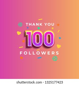 Thank you 100 followers design.Thank you followers congratulation card. Vector illustration for Social Networks. Web user or blogger celebrates a large number of subscribers. - Vector