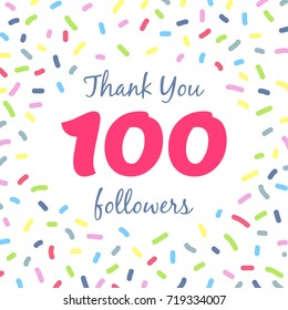 Thank you 100 followers network post. Vector digital illustration. Celebration of one hundred subscribers