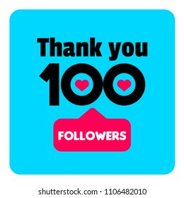Thank you 100 followers template for social media fans