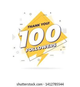 Thank you 100 followers trendy flat geometric banner.