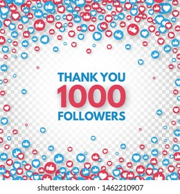 Thank you 1000 followers background. Social media concept. 1k followers celebration banner. Like and thumbs up. Achievement poster. Counter notification icons. Vector illustration.