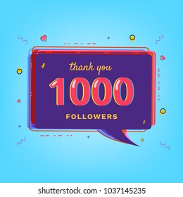 Thank you 1000 followers card. Template for Social Network. 1K subscribers banner with speech bubble. Glitch effect. Vector illustration.