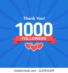 Thank you 1000 followers. Congratulation card. Web Social media concept. Blogger celebrates a many large number of subscribers.