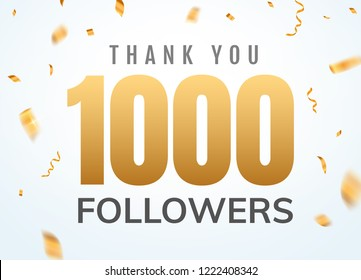 Thank you 1000 followers design template social network number anniversary. Social users golden number friends thousand celebration.