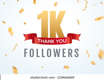 Thank you 1000 followers design template social network number anniversary. Social 1k users golden number friends thousand celebration.