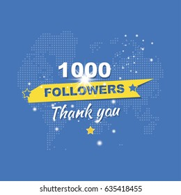 Thank you for 1000 followers. Greeting card in honor of the celebration. Flat vector illustration EPS10
