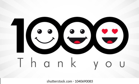 Thank you 1000 followers numbers. Congratulating black and white thanks, image for net friends in 3 three colors, customers likes, % percent off discount. Round isolated emoji smiling people faces.