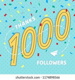 Thank you 1000 followers numbers postcard. Congratulating retro flat style design 1k thanks image vector illustration isolated on confetti background. Template for internet media and social network.
