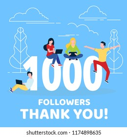 Thank you 1000 followers numbers postcard. People man, woman big numbers flat style design 1k thanks vector illustration isolated on confetti background. Template for internet media and social network