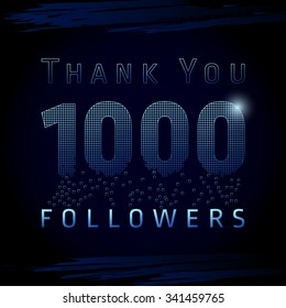Thank you 1000 followers pixelated numbers. Vector congratulating thanks colored card for network friends, shining pixels. One thousand likes abstract celebrating picture, dark background, greetings.