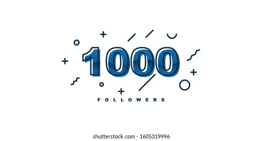 Thank You 1000 followers template design. Vector Eps 10