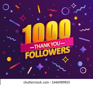 Thank you 1000 followers,thanks banner.First 1K follower congratulation card with geometric figures,lines,squares,circles for Social Networks.Web blogger celebrate a large number of subscribers.Vector