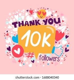 Thank you 10000 or 10k followers. Congratulation card. Blogger celebrates a many large number of subscribers.