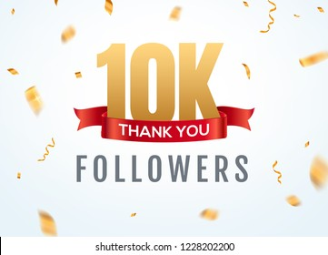Thank you 10000 followers design template social network number anniversary. Social 2k users golden number friends thousand celebration.