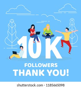 Thank you 10000 followers numbers postcard. People man, woman big numbers flat style design 10k thanks vector illustration isolated on confetti background template for internet media   social network