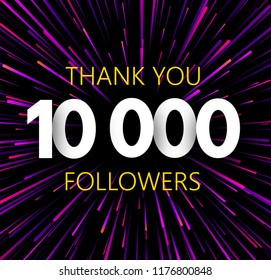 Thank you 10000 followers. Purle abstract festive poster. Vector background.