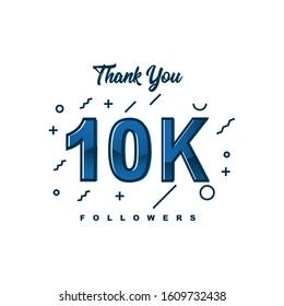 Thank You 10000 Followers Template Design. Vector Eps 10