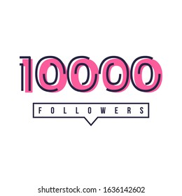 Thank You 10000 Followers Template Design Hand drawn. Vector Eps 10