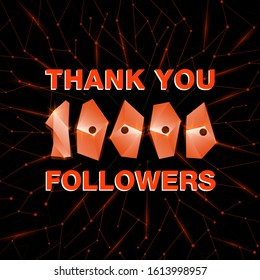 Thank you 10000 followers, thanks banner. Follower congratulation card with polygonal numbers and neural network background for Social Networks. Blogger celebrate new number of subscribers.