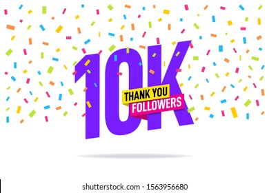 Thank you 10000 followers vector. Greeting social card thank you followers. illustration design for Social Networks.