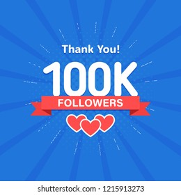 Thank you 100000 or 100k followers. Congratulation card. Web Social media concept. Blogger celebrates a many large number of subscribers.