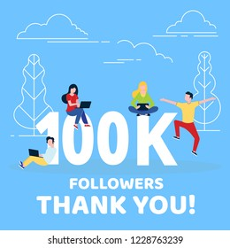 Thank you 100000 followers numbers postcard. People man, woman big numbers flat style design 100k thanks vector illustration isolated on blue background. Template for internet media and social network