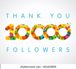 Thank you 10000k 10k followers numbers. Congratulating multicolored thanks image net friends likes, % percent off discount coloured round bubbles. Abstract celebrating picture pixel congrats pattern