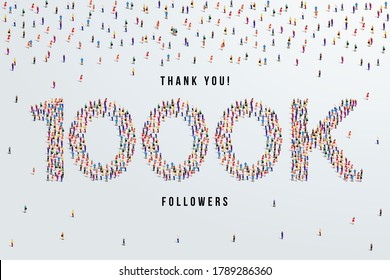 Thank you 1000K or one thousand k followers. large group of people form to create 1000K vector illustration
