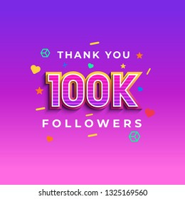 Thank you 100k followers design.Thank you followers congratulation card. Vector illustration for Social Networks. Web user or blogger celebrates a large number of subscribers. - Vector