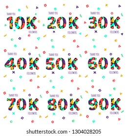 Thank you 10-90k followers numbers postcard set. Congratulating gradient flat style gradient thanks image vector illustration isolated  white background. Template for internet media social network.