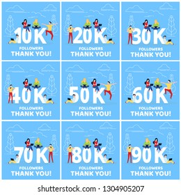 Thank you 10-90k followers numbers postcard set. People man, woman big numbers flat style design thanks vector illustration isolated on blue background. Template for internet media and social network.