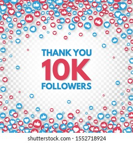 Thank you 10k followers background. Social media concept. 10000 followers celebration banner. Like and thumbs up. Achievement poster. Counter notification icons. Vector illustration.