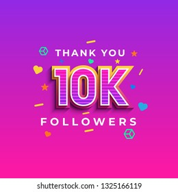 Thank you 10K followers design.Thank you followers congratulation card. Vector illustration for Social Networks. Web user or blogger celebrates a large number of subscribers. - Vector