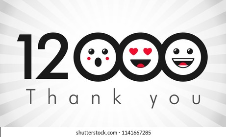 Thank you 12000k followers logotype. Congratulating black and white colours networking thanks, net friends abstract image, customers 12 000k sign, % percent off discount. Isolated smiling people.