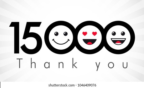 Thank you 15000 followers numbers. Congratulating black and white networking thanks, net friends image in two 2 colors, customers 15 000 likes, % percent off discount. Round isolated smiling people