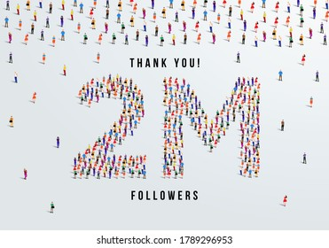 Thank you 2 million or two million followers design concept made of people crowd vector illustration.