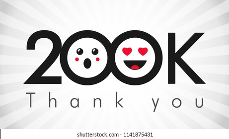 Thank you 200 000 followers logotype. Congratulating black and white colours networking thanks, net friends abstract image, customers 200 000 sign, % percent off discount. Isolated smiling people.