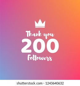 Thank you 200 followers design template. Vector illustration