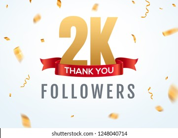 Thank you 2000 followers design template social network number anniversary. Social 2k users golden number friends thousand celebration.