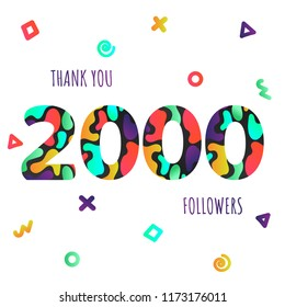 Thank you 2000 followers numbers postcard. Congratulating gradient flat style gradient 2k thanks image vector illustration isolated on white background. Template for internet media and social networks