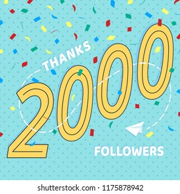 Thank you 2000 followers numbers postcard. Congratulating retro flat style design 2k thanks image vector illustration isolated on confetti background. Template for internet media and social network.
