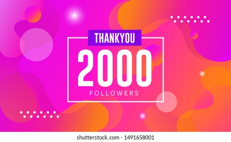 Thank you 2000 followers vector. Greeting social card thank you followers. illustration design for Social Networks.