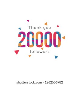Thank you 20000 followers design template. Vector esp 10