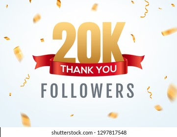 Thank you 20000 followers design template social network number anniversary. Social 2k users golden number friends thousand celebration.