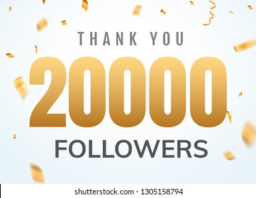Thank you 20000 followers design template social network number anniversary. Social users golden number friends thousand celebration.
