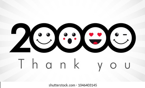 Thank you 20000 followers numbers. Congratulating black and white networking thanks, net friends image in two 2 colors, customers 20 000 likes, % percent off discount. Round isolated smiling people