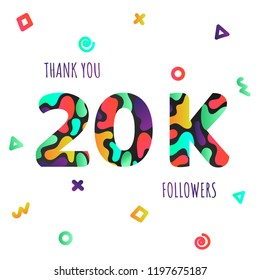 Thank you 20000 followers numbers postcard. Congratulating gradient flat style gradient 20k thanks image vector illustration isolated  white background. Template for internet media and social network.
