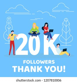 Thank you 20000 followers numbers postcard. People man, woman big numbers flat style design 20k thanks vector illustration isolated on blue background. Template for internet media and social network.