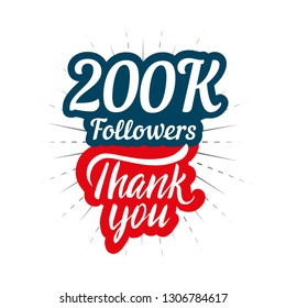 Thank you 200K followers card for celebrating many followers in social network