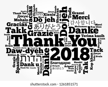 Thank You 2018 word cloud in different languages, concept background